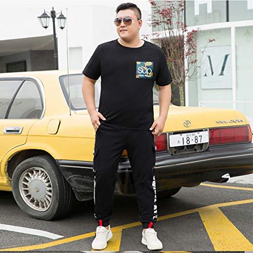 LIXIAOLAN Sport Men's Sets Jogging Pants Summer Men's Cropped T Shirt Trausers Trajes De Manga Corta Ropa Deportiva para Hombre Ropa Diaria,Negro,XXXL