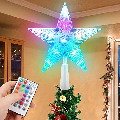 MAXROCK Christmas Tree Topper Star 7' LED Lighted Star Tree Top w/ Remote Control, 5-Point Star RGB Night Light Treetop, Small Xmas Tree Decor for Christmas, USB Powered/Wire 23.6inch