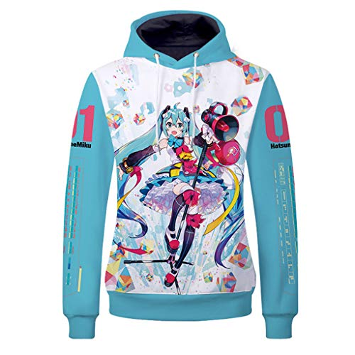 Anime 3D Printed Hatsune Miku Cosplay Pullover Jacket Unisex Adult Costume Sweatshirt Hoodie Tops 03 L