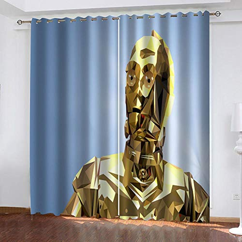 Hsvvsovs Curtains Blackout Cool golden robot 3D printed 100% Super soft micro fiber Thermal Insulated Noise Reduction eyelet curtains for Teenagers Bedroom Living Room Home Decoration 2 tablets - 86