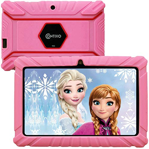 Contixo V8-2 7 inch Kids Tablets - Tablet for Kids with Parental Control - Android Tablet 16 GB HD Display Durable Case & Screen Protector WiFi Camera-Learning Toys, Pink