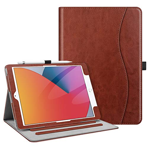 Fintie Case for New iPad 8th Gen (2020) / 7th Generation (2019) 10.2 Inch - [Corner Protection] Multi-Angle Viewing Folio Stand Cover with Pocket, Pencil Holder, Auto Wake/Sleep, Vintage Brown