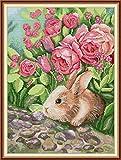 Kit de punto de cruz para adultos-DIY Cross Stitch estampado costura patrón de bordado Imágenes regalo-11CT Lienzo preimpreso- Conejo perfumado