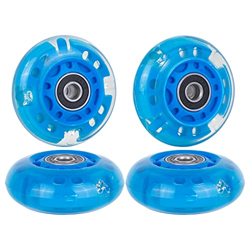 AOWESM Light Up Inline Skate Wheels 64mm 82a Skate Roller Blade Wheels Replacement with Bearings ABEC-9 for Kids Girls Boys and Beginners (4-Pack) (Blue)