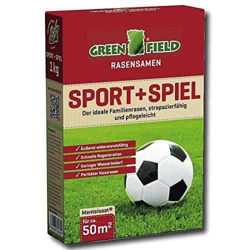 Greenfield Sport et Jeu Pelouse Graines 1 kg Gazon Semences Semis de Couverture Famille 50 Mètres ²