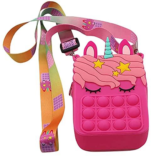 POP IT Push Bubble Umhängetasche, 2 in 1 Zappeln sensorische Spielzeugtasche, einfache Grübchen Spielzeugtasche, sensorische Umhängetaschen, modische kreative diagonale Tasche, Handspielzeugtasche