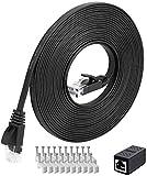 Cable de red Cat6 de 20 m | red Ethernet de alta velocidad | Cable de conexión | 250 MHz 1000 Mbit/s plano LAN compatible con conmutador, router, módem, panel de conexiones