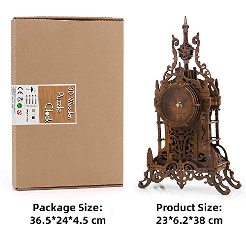 nicknack 3D Wooden Puzzle,Model Kits Desk Clock-Laser Cut Clock Model Kits, Christmas Birthday Gifts For Kids and Adults - 47pcs Jigsaw