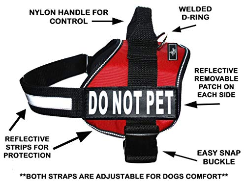 DO NOT PET Dog Vest Harness with Removable Patches and Reflective Trim. Comes with 2 DO NOT PET Reflective Removable Patches. Please Measure Dogs Girth Before Purchase