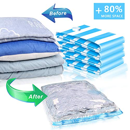 51RjhuA9WqL - VMSTR Vacuum Storage Bags with Wireless Electric Pump Space Saver Bags 8PCS(1XLarge,2XMiddle,2XSmall,3Xfood Bags) Compression Bags for Travel and Home Use Clothes Blankets Pillows Comforters