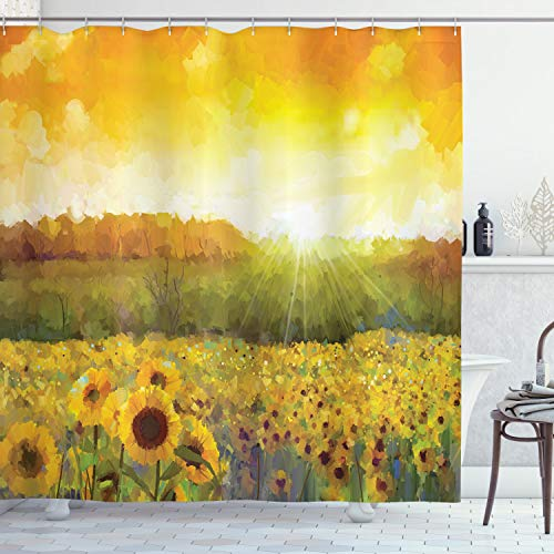 ABAKUHAUS Zonnebloem Douchegordijn, Gouden Gebied van de zonnebloem, stoffen badkamerdecoratieset met haakjes, 175 x 220 cm, Oranje Geel