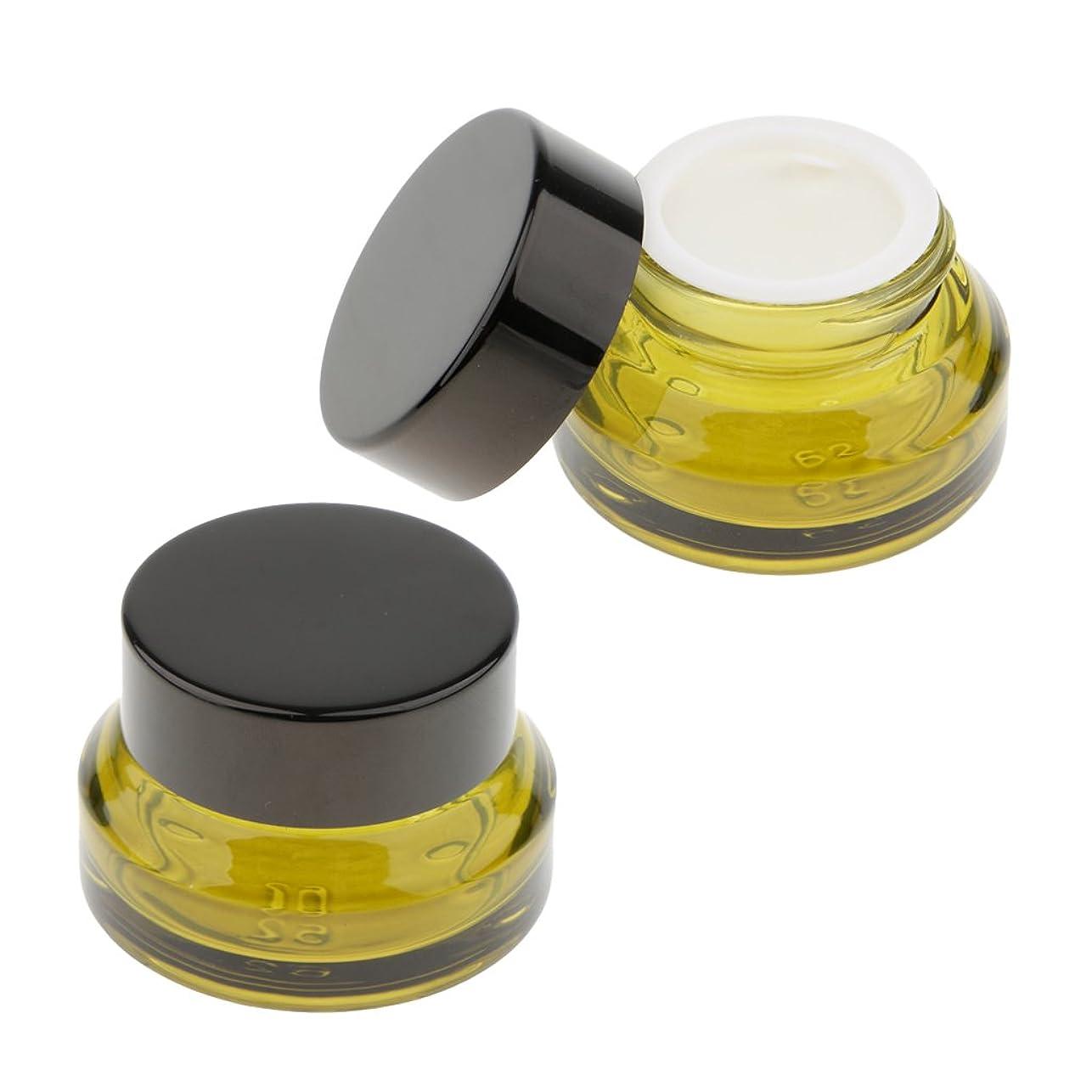 アクティブ学生シングルKesoto 2個 ガラスボトル クリームボトル メイクアップ容器 顔のクリームジャー ローション 旅行用 ケース 3サイズ選べ - 15g
