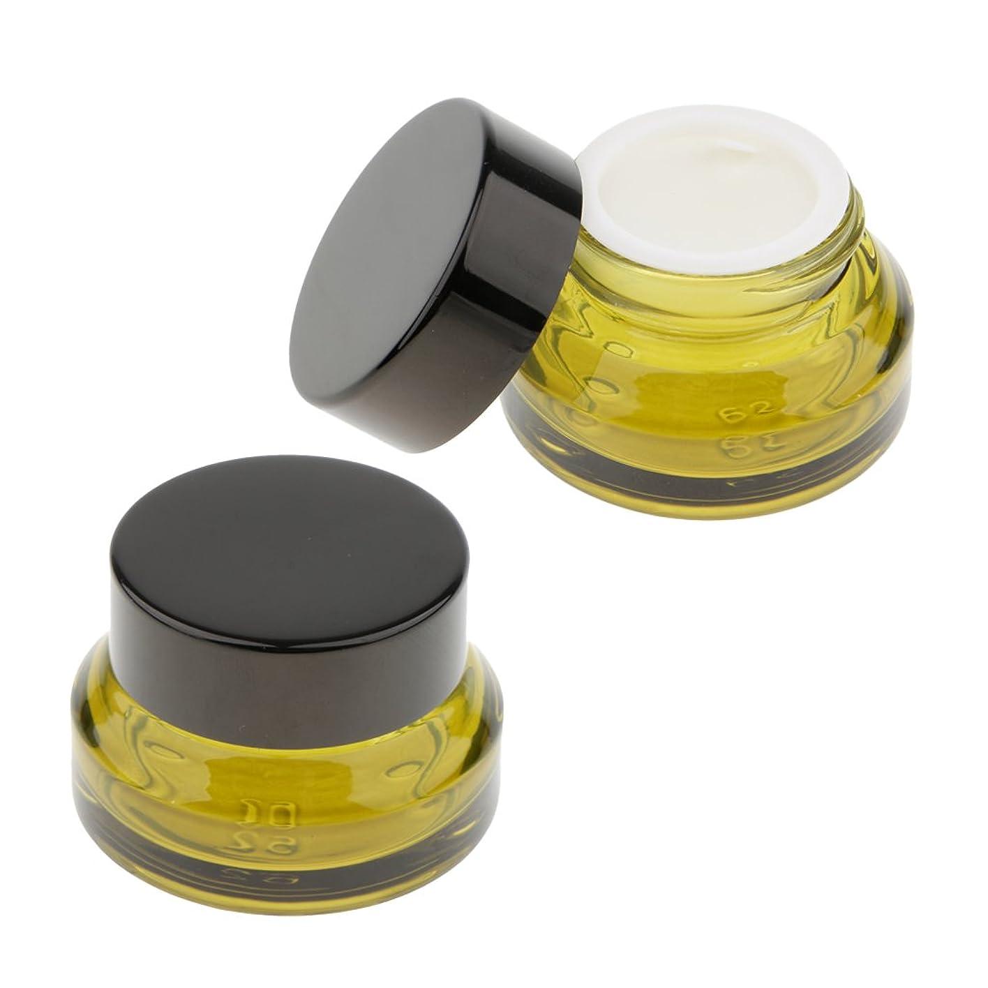 いう罪悪感砂のKesoto 2個 ガラスボトル クリームボトル メイクアップ容器 顔のクリームジャー ローション 旅行用 ケース 3サイズ選べ - 15g