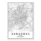 WJWAINI Weltkartedekorativewandbilder Zaragoza Stadtplan