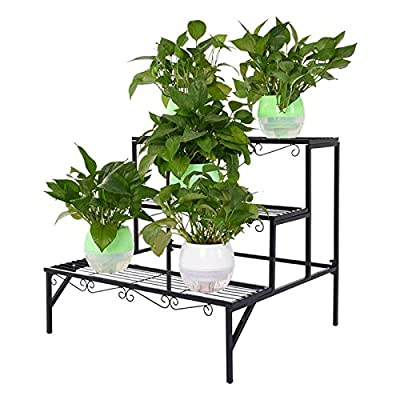 [US Stock] Bamboo/Metal Plant Stand, Multi-Tier...