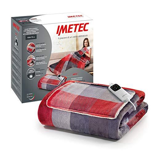 Imetec Adapto Velvet Tartan Heizdecke mit Taschen für die Hände, 150 x 110 cm, aus samtig weichem Gewebe, mit Adapto-Technologie und Sicherheitssystem, heizt schnell auf, 6 Temperaturen, waschbar