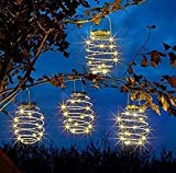 Farol solar LED en espiral, 4 unidades, lámpara solar en forma de gancho, farol para exterior, decoración de jardín, lámpara solar colgante (blanco cálido)