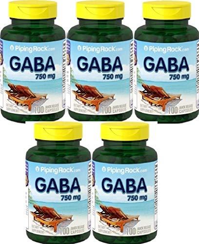 5 GABA (ácido gama aminobutírico), 750 mg, 100 Cápsulas