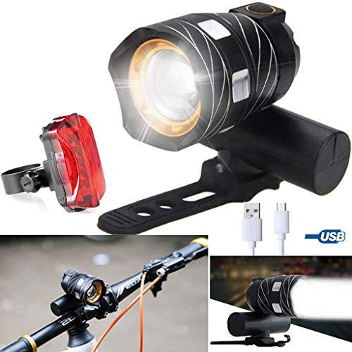 Marico Nahum USB Wiederaufladbare XM-L T6 LED Vorne Fahrrad Licht Rücklicht Fahrrad Scheinwerfer Wasserdicht Radfahren Camping Angeln Wandern Lampe, IP65 Wasserdicht, 3 Modi, 3000mAh Batterie
