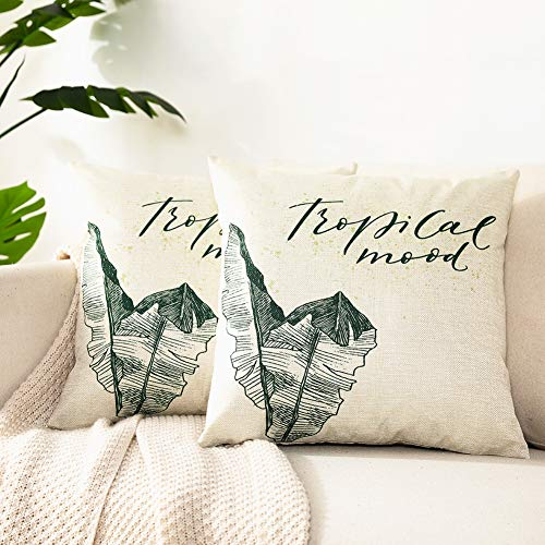 Kerothen Leaf Throw Pillow Covers - Decorative Tropical Green Leaf Pattern Throw Pillows Covers Cozy Farmhouse Couch Outdoor Palm Banana Tree Leaf 20x20 Cushion Cover Throw Pillow Cases 2 Pack