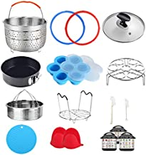 Pressure Cooker Accessories Compatible with Instant Pot 6 Qt - Steamer Basket, Silicone Sealing Rings, Springform Pan, Glass Lid, Egg Bites Mold, Egg Steamer Rack and More