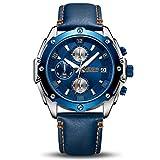 Herren Uhren Herren Analog Chronograph Quarz mit Blau Leder Band und Automatischer Kalender Funktion
