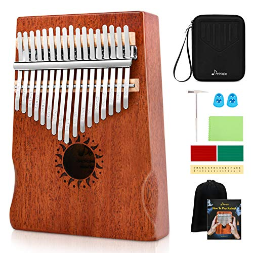 Donner Kalimba Thumb Piano 17 Keys, Thumb Piano Musical Instrument, Portable Finger Piano Mbira Sanza with Tuning Hammer, Study Instruction and Hard Case, Gift for Beginners Adult Professional DKL-17