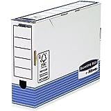 Bankers Box 0023701- Caja de archivo definitivo automático, folio, lomo 80 mm, blanco / azul