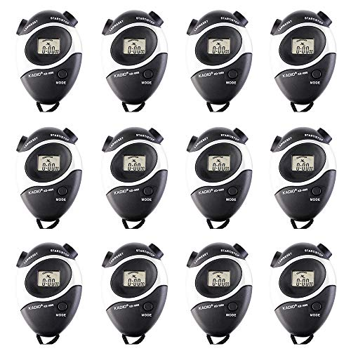 Pgzsy 12 Pack Black Multi-Function Electronic Digital Sport Stopwatch Timer, Large Display with Date Time and Alarm Function,Suitable for Sports Coaches Fitness Coaches and Referees