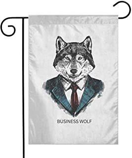 Fickdle Courtyard Garden Flag Wolf Weather Resistance W12 x L18 Inch Business Animal in Suit with Jacket Shirt and Tie Sketch Style Hipster Print Teal Vermilion Black