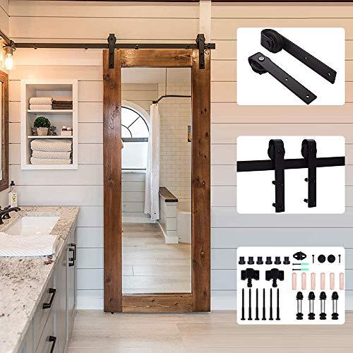 201cm/6.6FT Schiebetürbeschlag Set Schiebetürsystem Zubehörteil für Schiebetüren Innentüren, Schwarz/Sliding Barn Door Hardware Kit