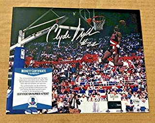 Clyde Drexler Autographed Signed Portland Trailblazers 8x10 Photo Beckett Certified
