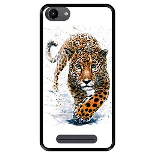 Hapdey silikon Hülle für [ Wiko Jerry - Lenny 3 - K-Kool ] Design [ Jaguar - Abbildung ] Schwarze Flexibles TPU