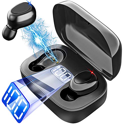 Auriculares inalámbricos Bluetooth 5.0 True Wireless Earbuds In-Ear Headsets with Mic CVC 8.0 Noise Canceling, IPX5 Waterproof, Single/Twin Mode, USB-C Quick Charge