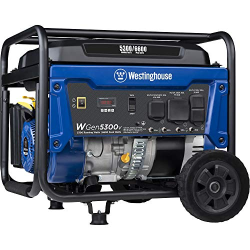 Westinghouse WGen5300v Portable Generator with 120/240 Volt Selector 5300 Rated 6600 Peak Watts Gas Powered, CARB Compliant, RV and Transfer Switch Ready