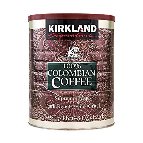 カークランド シグネチャー 100%コロンビアコーヒー粉缶 レギュラーコーヒー 深煎り 細挽き 1.36kg×96缶
