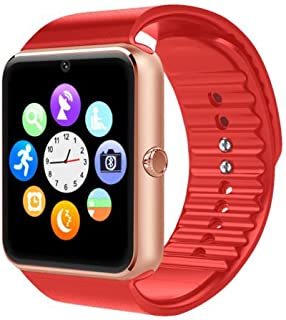 Bluetooth Smartwatch + Unlocked Watch Cell Phone for Android/iPhone Smart Phones (Red)