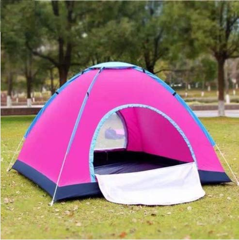 D&M Outdoor Camping Tent, 3-4 Person Tent, Easy Quick Setup Dome Popup Tent, Waterproof Beach Tent, Great for Camping,Pink,4 Person