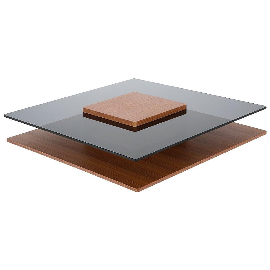 他の場所モールぬれたLOWYA (ロウヤ) テーブル ローテーブル 木目×ガラス 正方形 オープンスペース ブラウン おしゃれ 新生活
