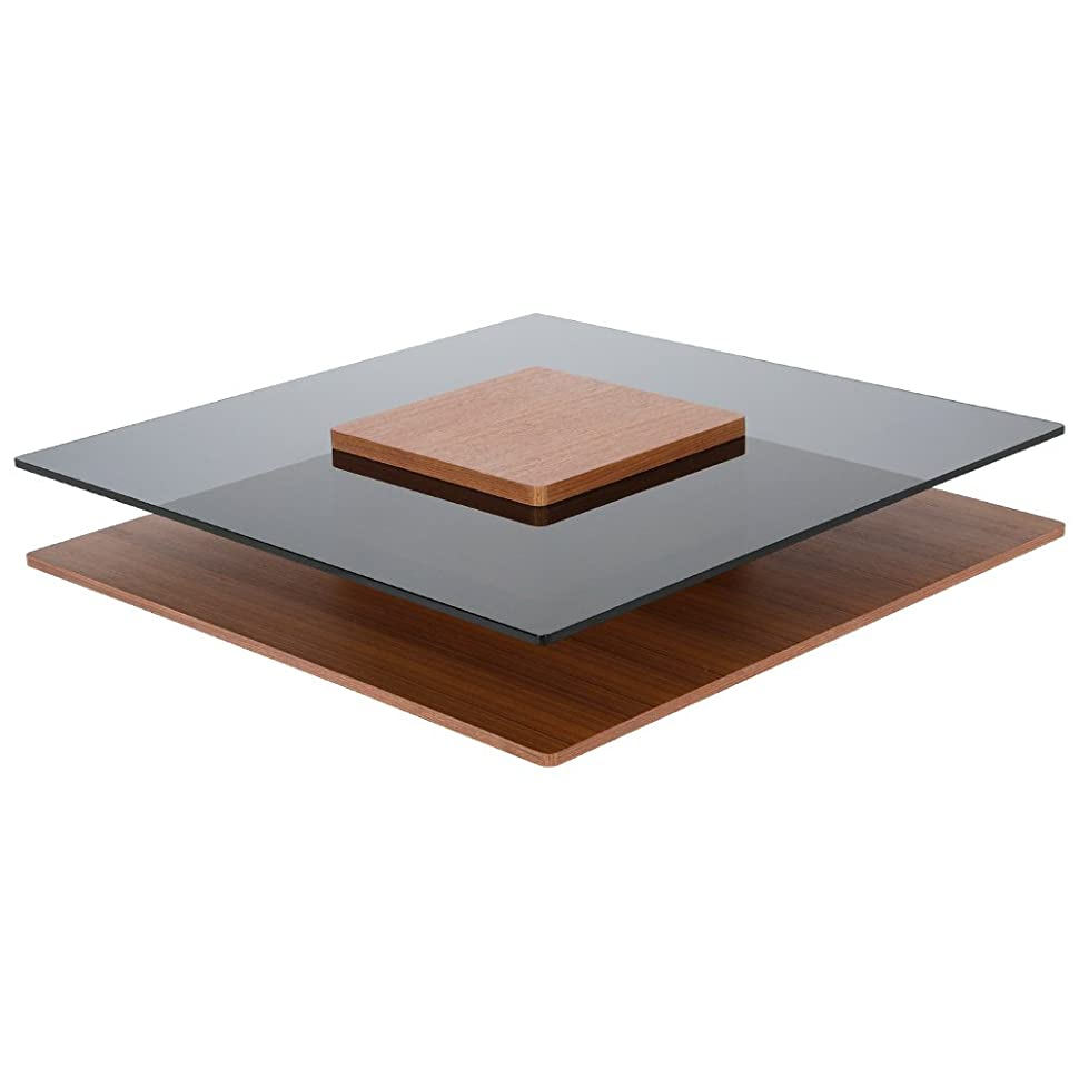 岸贅沢な武装解除LOWYA (ロウヤ) テーブル ローテーブル 木目×ガラス 正方形 オープンスペース ブラウン おしゃれ 新生活