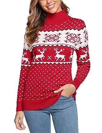 iClosam Jersey Suéter de Navidad Mujer,Jerséis de Punto Ciervo Cuello Redondo Suelto Linda y Moda