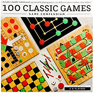 Game Compendium Classic Games 100 Games 5 Double Sided Playing Boards, 2 to 6 Players Fun Learning Education Game