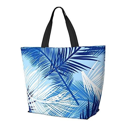Bolsa de hombro multifuncional de gran capacidad con estampado de hojas de palma, color blanco cobalto y azul cielo, bolsa de mano, bolsa de trabajo, ligera, bolsa de viaje, bolsa de playa para mujer