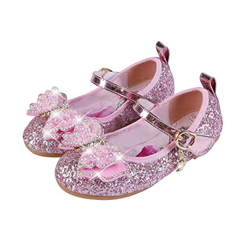 STRDK - Zapatos de fiesta para nias, princesa, para cosplay, Elsa, reina de la nieve, purpurina Mary Jane, color Rosa, talla 26 EU