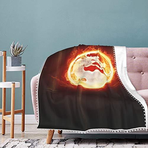 LXXHWORLD Mo-Rtal Ko-Mbat - Manta de flecos con pompón, para todas las estaciones, para sofá, cama, 106 x 76 cm