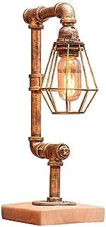 SMEJS Lámpara de Mesa Lámpara de Mesa de Mesa Industrial Vintage Lámpara de Mesa de Noche Tubo de Agua de Metal rústico y ...