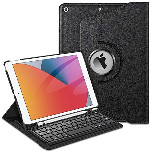 Fintie Keyboard Case for iPad 9th / 8th / 7th Generation (2021/2020/2019 Model) 10.2 Inch, 360 Degree Rotating Smart Stand Cover w/Pencil Holder, Built-in Wireless Bluetooth Keyboard, Black