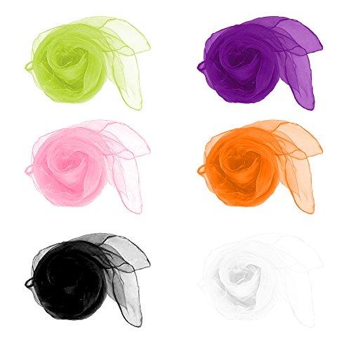 Xuxuou Pañuelo de Seda de la Bufanda de los niños de la Toalla de la Mano Pañuelos de Verano monocromáticos pequeños (60 * 60cm) 6 Colores 12pcs