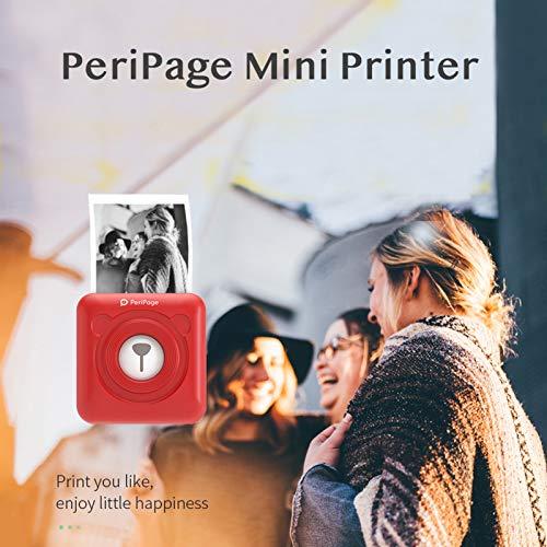 Aibecy PeriPage Mini Fotodrucker Wireless BT Thermodrucker Picture Label Memo Receipt Drucker mit USB-Kabel für Android iOS Smartphone Windows (Rot)