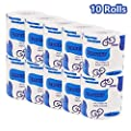 Tissue 10 Rolls Silky & Smooth Soft Professional Series Premium 3-Ply Toilet Paper Skin-Friendly Bath Tissue Paper Home Kitchen Toilet Tissue Highly Absorbent Hand Towels